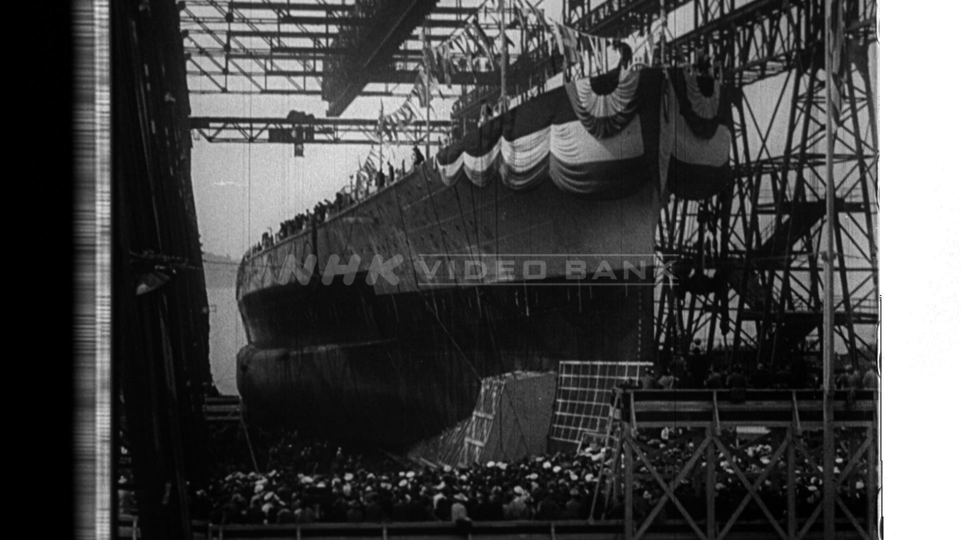 Ceremonial launching of a USS Washington BB56  (1940)