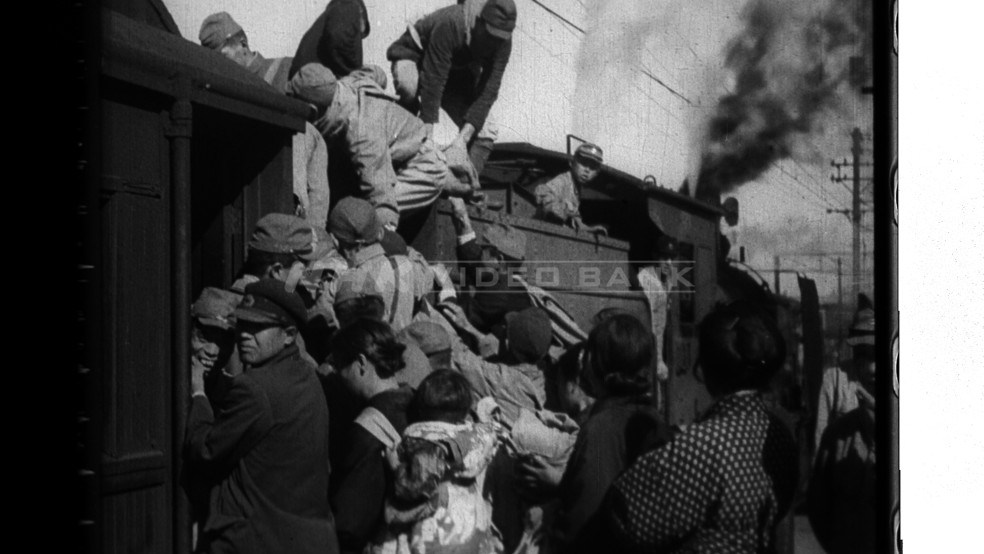 Train heading for Tokyo overflow with passengers (1945)
