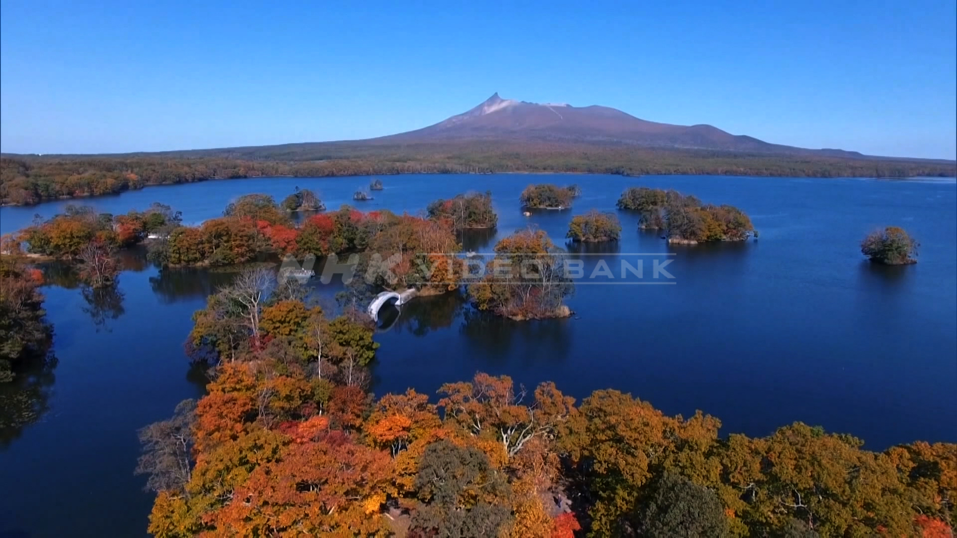 Drone shot: autumn at Onuma Quasi-National Park in Hokkaido