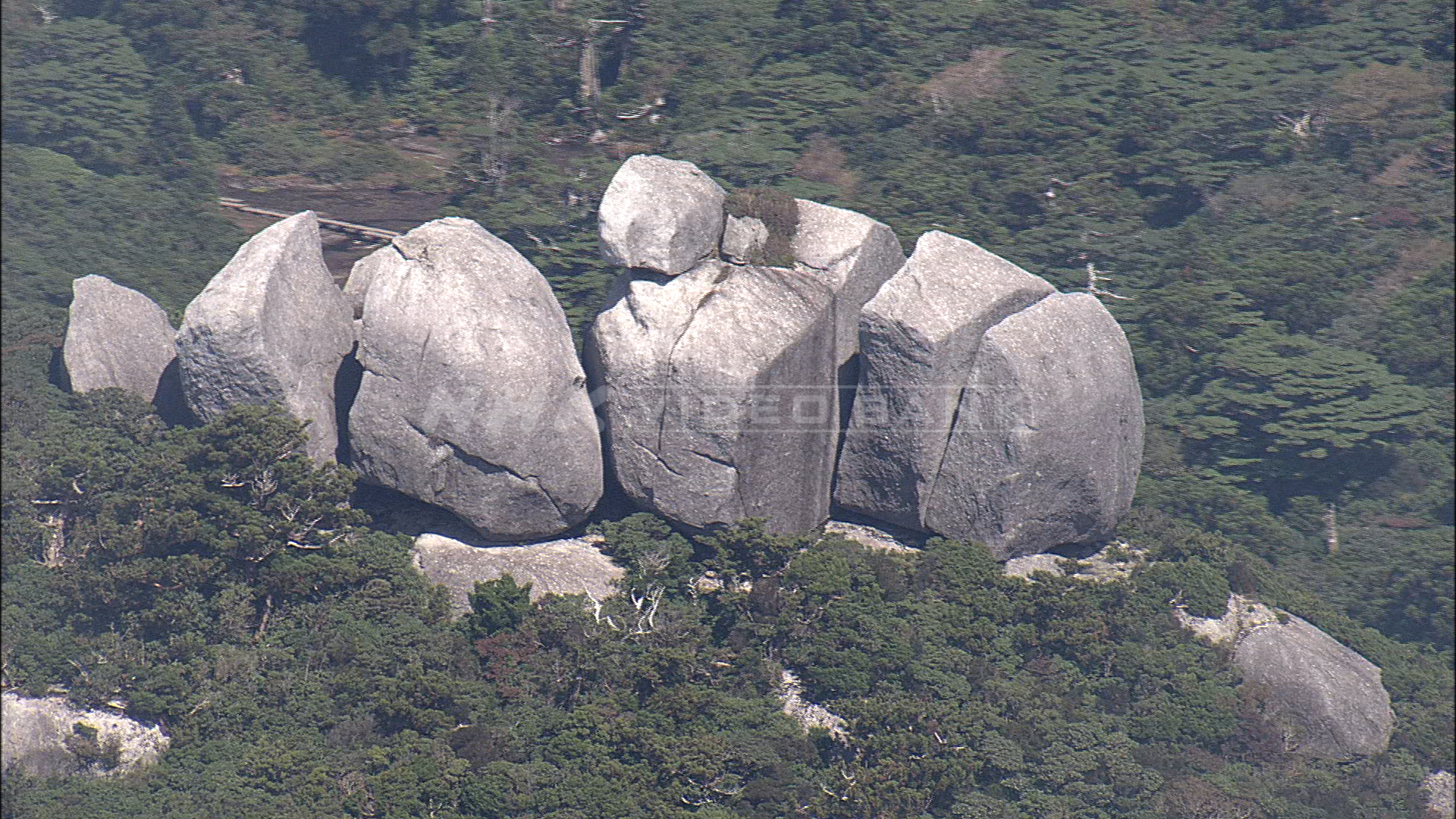 "Aerial: weirdly shaped rocks called ""Tofu Rock"" in Yakushima Island, Japan"