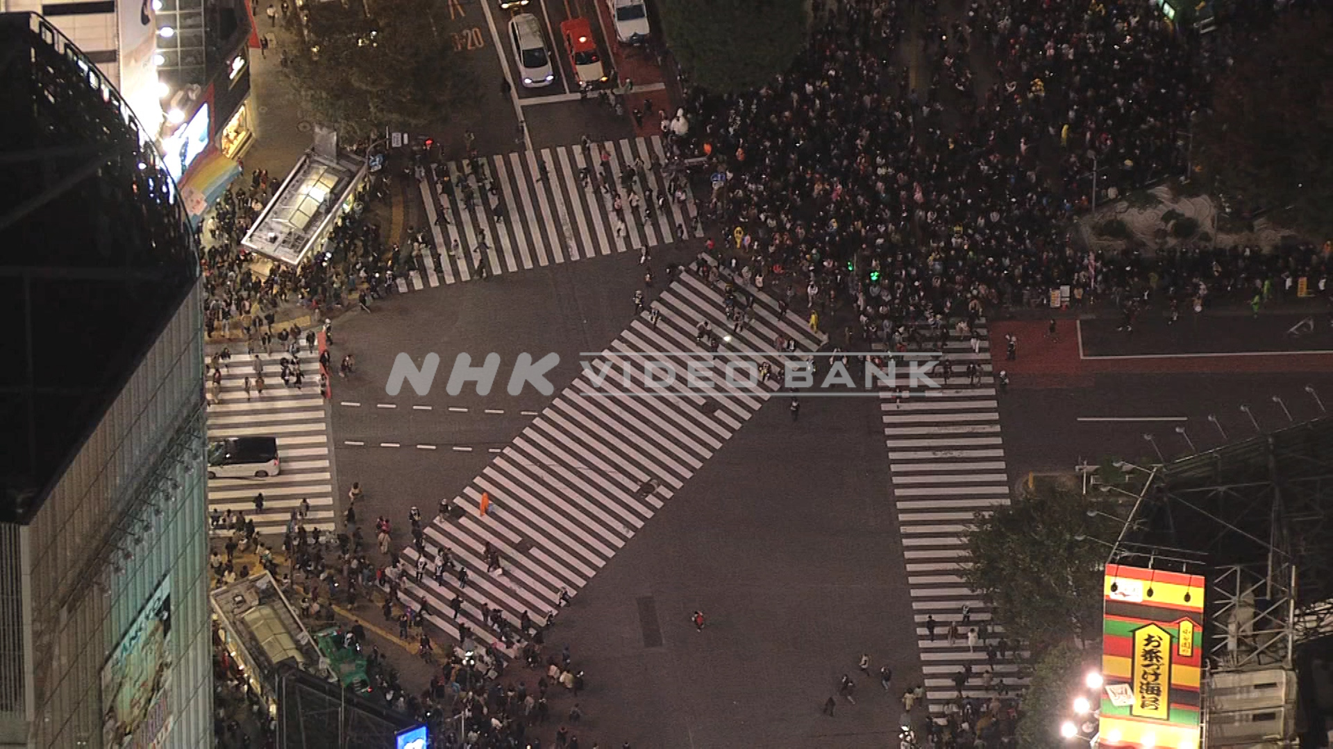 Aerial: walking across the Shibuya